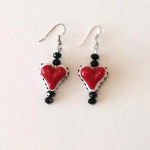Handmade Lampwork Heart Dangle Earrings