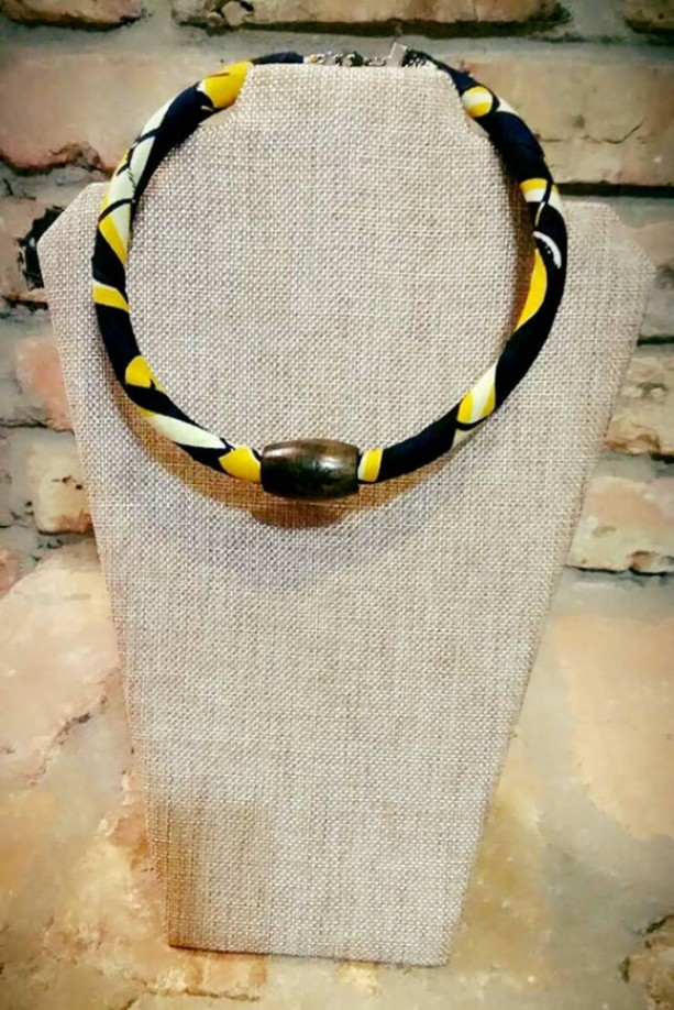 Yellow & White Multicolor African Tribal Single Strand Beaded Necklace, African Print Beaded Fabric Rope Necklace, Beaded Ankara Necklace