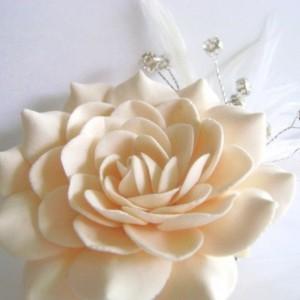 Champagne Bridal Hair Flower Gardenia Clip Wedding Hair Accessories Rhinestones Feather
