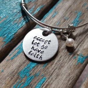 "Faith Quote Bracelet- ""accept let go have faith"" with an accent bead of your choice"