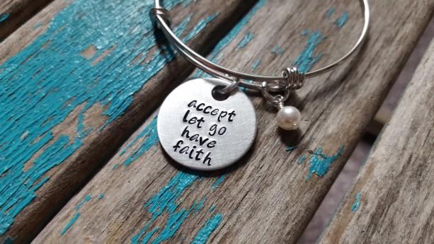 "Faith Quote Bracelet- ""accept let go have faith"" with an accent bead of your choice"