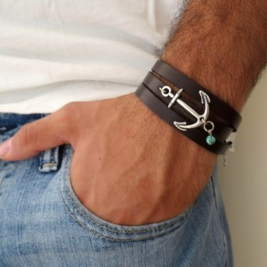 Men's Bracelet - Men's Anchor Bracelet - Men's Leather Bracelet - Men's Jewelry - Men's Gift - Husband Gift - Present For Men - Boyfriend