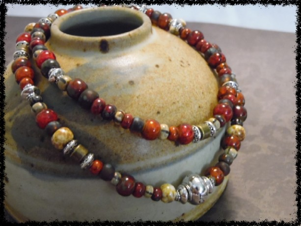 Picasso Czech bead Silver Love Bead Bracelet/Chocker