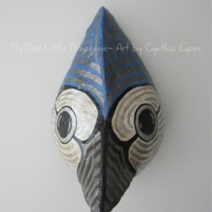 Blue Jay paper mache bird head Blue Jay bird sculpture faux taxidermy song bird art