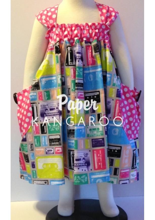 summer dress, toddler dress, girls summer dress, toddler summer dress, cassette tapes, tapes, vintage tapes, music, size 5, easter dress