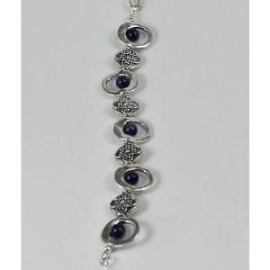 Silver Lentil and Amethyst Bracelet
