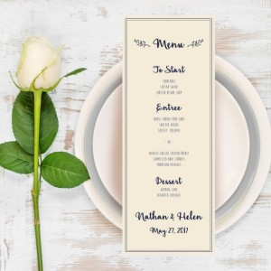 Wedding Menu, Navy and Coral Wedding Dinner Menu, Menu Card, Dinner, Card, Wedding Decor, Elegant Wedding, DIY Wedding, Summer Wedding