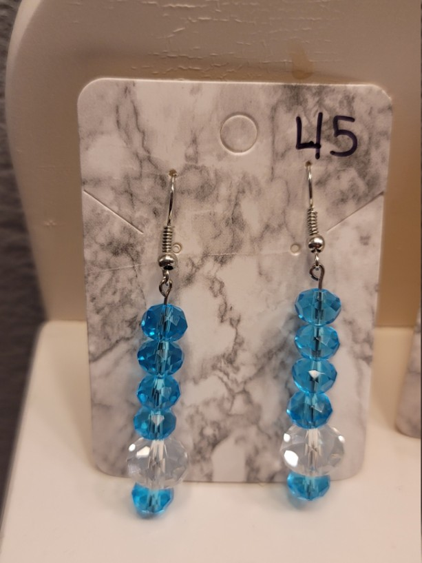 Blue and clear bead earrings