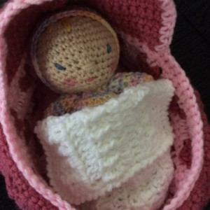 "2 in 1 Cradle/Purse and 6"" Doll - Doll Bed/Doll Carrier - Pink/Rose- Heart Pattern"