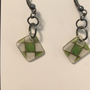 Green tilted 9 patch earrings