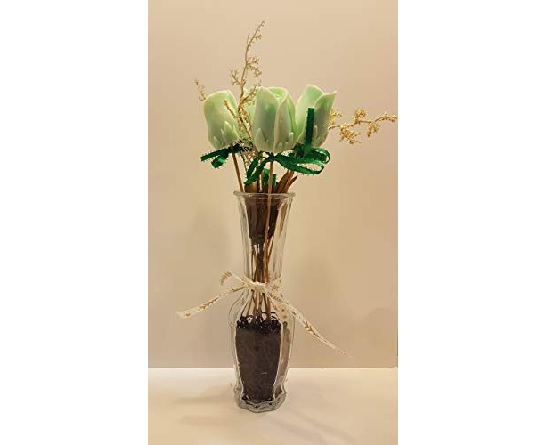 Flower Vase ribbon Decorative Handmade Soap green