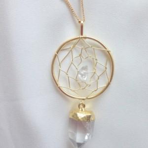gold dream catcher necklace, dream catcher necklace, gold quartz crystal necklace, quartz  pendant necklace, native american dream catcher