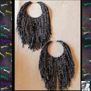 Fringe Earrings,fabric fringe,Handmade Earrings,Long Fringe,Unique Earrings,black and white earrings,Funky,Lite Weight