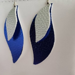 Vegan faux leather metallic blue and silver earrings