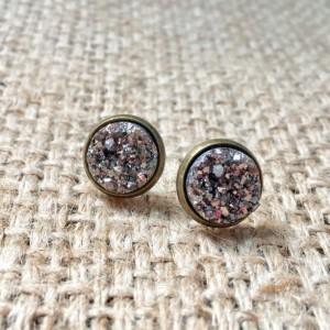 Gunmetal Druzy Studs, Faux Druzy Earrings, Metallic Druzy Studs, Druzy Stud Earrings, Druzy Post Earrings, Faux Druzy Studs, Gemstone Studs