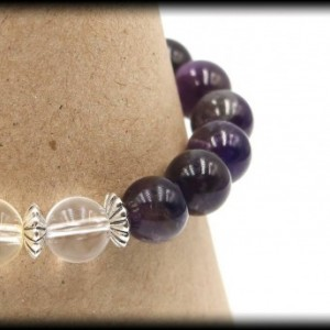 Citrine, Amethyst and Clear Quartz Bracelet for Abundance