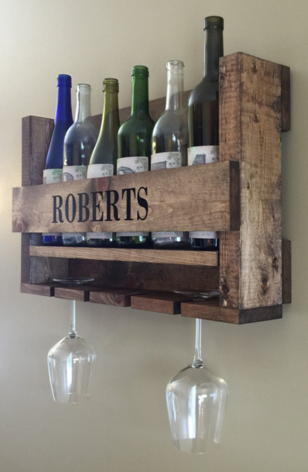 Personalized Wine Rack | Handcrafted Wood Designs | Wedding Gift | Rustic Wine Rack | Housewarming Gift | Bridal Shower Present