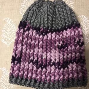 Girls purple and grey beanie hat