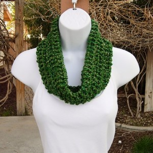 Green SUMMER COWL SCARF, Light, Bright Dark Green, Small Short Soft Infinity Loop Crochet Knit, St Patrick's Day, Office, Ships in 2 Days