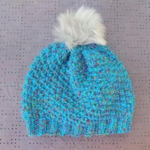 Adult Knit Hat w/ Faux Fur Pom Pom
