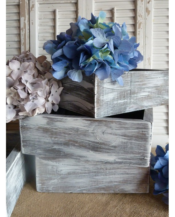 Wooden Box, Storage Box, Cottage Chic Decor, Wedding Decor, Wooden Planter Box, White, Living Room Decor, Shelf Decor