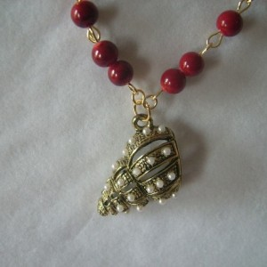 Cherry Red Seashell Pendant Necklace, Bracelet and Earring Set