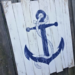 Large Handcrafted Distressed Reclaimed Wooden Anchor Sign