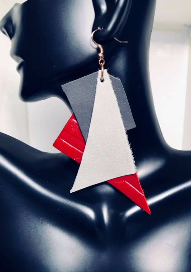 Red and Gray Leather Abstract Statement Earrings