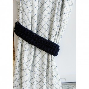 Dark Solid Navy Blue Curtain Tiebacks Tie Backs Set, One Pair of Thick Drapery Holders for Drapes, Crochet Knit, Basic Simple Handmade, Customizable