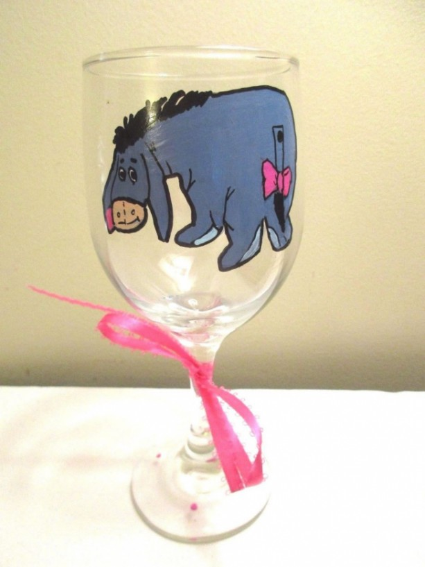 Hand Painted Glass Disney Eeyore Winnie the Pooh Walking 12 oz WINE GLASS