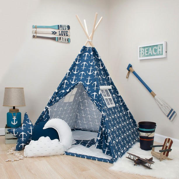 Navy with White Anchors Kids Teepee Set