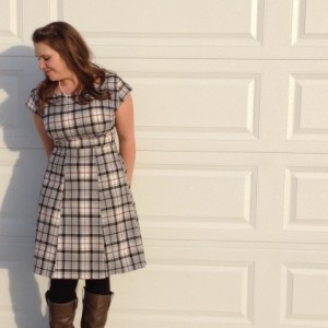 Boatneck plaid dress ... Womens handmade dress... Made to measure