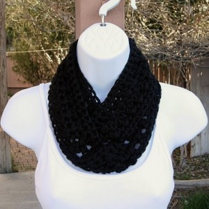Women's Solid Black SUMMER SCARF Small Infinity Loop Soft Silky Lightweight Crochet Knit Narrow Short Skinny Cowl, Ready to Ship in 3 days
