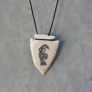 Ethical Scrimshaw Raven Bone Pendant