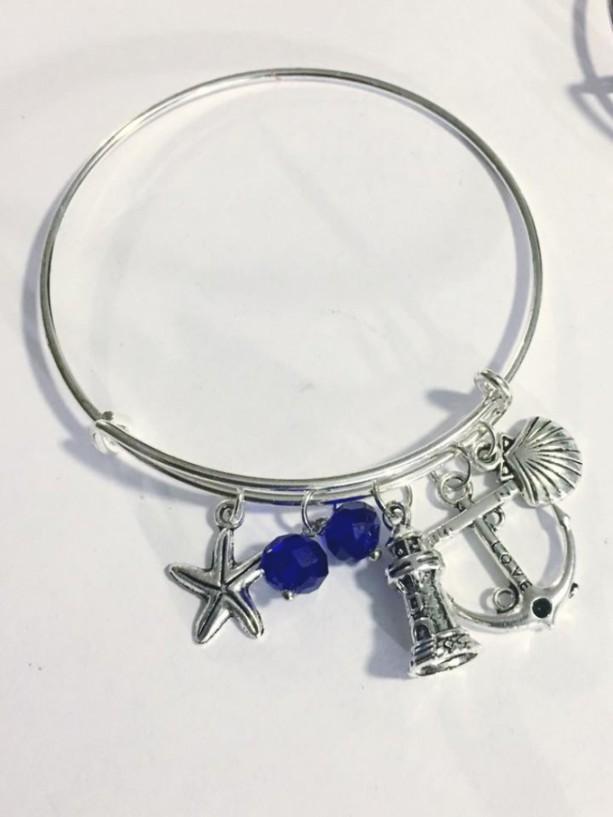 Charm Bangle Bracelet, Ocean Themed, Customizable