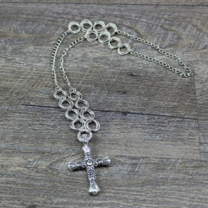 Silver Cross Spiral Chainmaille Necklace