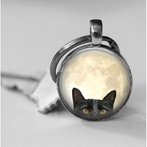 Peekaboo Cat Curious Black Cat Kitty on Full Moon Photo Pendant Necklace or Key chain Altered Art Jewelry glass pendant Fall Halloween gift