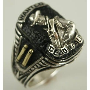 Wanted Dead or Alive,Bounty Hunter sterling silver ring
