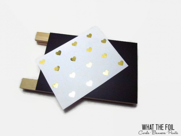 Gold Foil Hearts on White Greeting Card with Envelope (10 Cards)