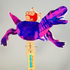 Wooden Puppet-  Dino with Caveman