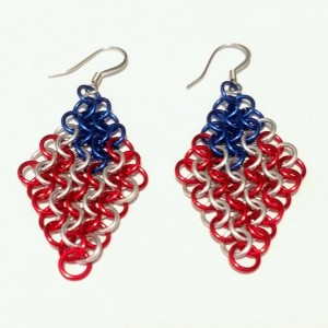 Chainmaille patriotic American Flag dangle earrings