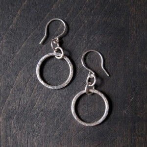Sterling Silver Dapple Hammered Drop Hoop Earrings - Hand Forged From Recyled Metal