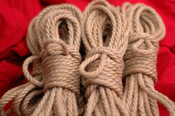 Six 8m Lengths of 5mm Hand Crafted Tossa Jute Rope