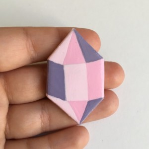 Handmade Brooch Gem Crystal Pin Clay Pink Artisan jewelry Accessory