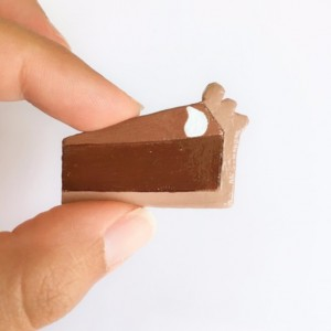 Handmade brooch Chocolate Pie Pin Food Jewelry