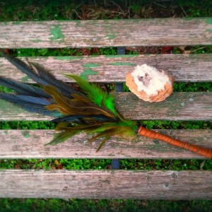 Smudge Fan-Pheasant-Hen, Blue-Green-Yellow-Cruelty free feathers, Henna Dyed