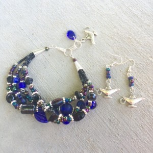 Black and blue glass quadruple strand Aladdin magic lamp bracelet and earrings