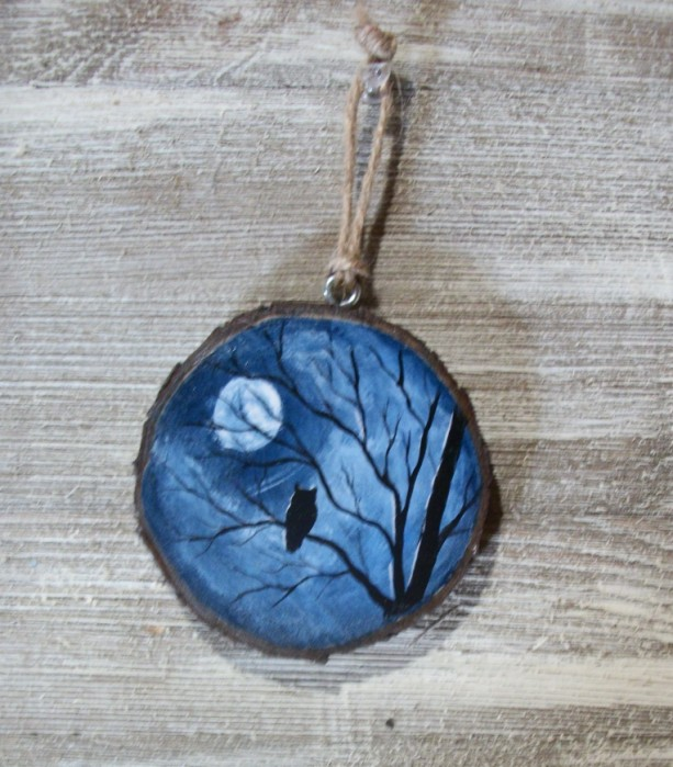 Rustic hand painted ornament