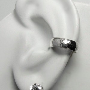 Ear Cuff Silver Ear cuff Non-pierced Cartilage Wrap Earring Fake Conch No Piercing Cuff Earring Faux Pierced Hoop Domed Hammered ELDSSHM