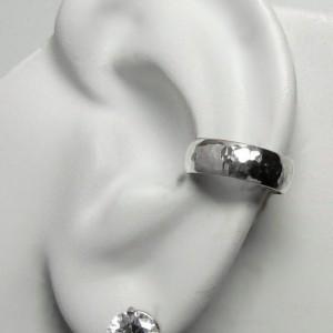 Ear Cuff Silver Ear cuff Non-pierced Cartilage Wrap Earring Fake Conch No Piercing Cuff Earring Faux Pierced Hoop Domed Hammered ELDSSHM